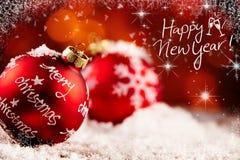 Fondo festivo de la Feliz Año Nuevo con las decoraciones Fotos de archivo