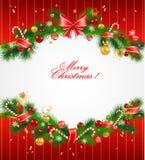 Fondo festivo de la Navidad con el árbol de abeto Imagen de archivo libre de regalías