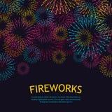 Fondo festivo de los fuegos artificiales ejemplo abstracto del vector Fotografía de archivo libre de regalías