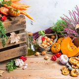 Fondo festivo decorativo de la acción de gracias del otoño de la caída con las verduras Imagen de archivo libre de regalías