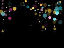 Fondo festivo del confeti redondo de Memphis en azul, rosado ciánico y amarillo Vector infantil del modelo ilustración del vector