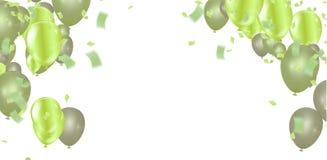 Fondo festivo di compleanno con il modello ENV variopinto dell'insegna di celebrazione del pallone 10 illustrazione vettoriale