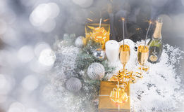 Fondo festivo di Natale di inverno Fotografie Stock Libere da Diritti