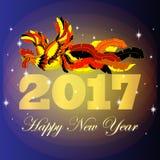 Fondo festivo di vettore per il nuovo anno Gallo di volo nello stile cinese illustrazione di stock