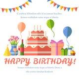 Fondo festivo piano di buon compleanno con le icone dei coriandoli messe Elementi di progettazione di celebrazione e del partito: Immagine Stock