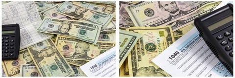 Fondo financiero del efectivo del banco de la calculadora de la forma de impuesto Imágenes de archivo libres de regalías
