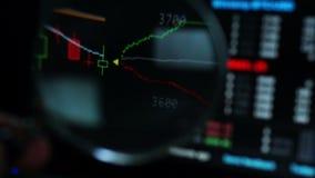 Fondo financiero Opinión en línea de bolsa de acción a través de la lupa almacen de metraje de vídeo