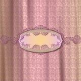 Fondo fino del damasco con la bandera elegante del texto Imagen de archivo libre de regalías