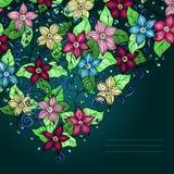 Fondo, fiori e foglie floreali di vettore. Illustrazione Vettoriale