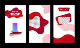 Fondo flúido moderno vertical del diseño de la plantilla con la promoción violeta del rojo de la pendiente, negra y vibrante del  ilustración del vector