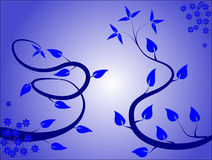 Fondo floral azul stock de ilustración