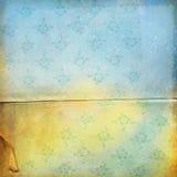 Fondo floral azul amarillo del grunge Imagenes de archivo