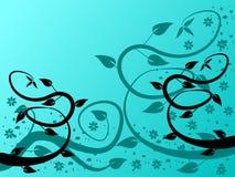 Fondo floral azul ciánico ilustración del vector