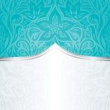 Fondo floral azulverde de la invitación del día de fiesta del vintage de la turquesa imagen de archivo