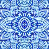 Fondo floral con el adorno azul de Paisley stock de ilustración
