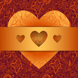 Fondo floral con el corazón y la cinta Imagen de archivo libre de regalías