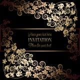 Fondo floral con la antigüedad, el negro de lujo y el marco del vintage del oro, bandera del victorian, ornamentos del papel pint ilustración del vector