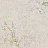 Fondo floral del vintage con la postal Fotografía de archivo libre de regalías