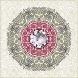 Fondo floral con la joya del diamante Fotografía de archivo libre de regalías