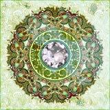 Fondo floral con la joya del diamante Fotos de archivo