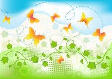 Fondo floral con la mariposa. Imágenes de archivo libres de regalías