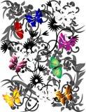 Fondo floral con la mariposa Imágenes de archivo libres de regalías