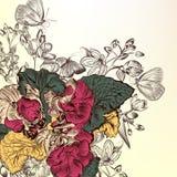 Fondo floral con las flores grabadas Foto de archivo