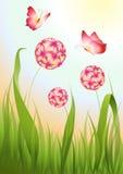 Fondo floral con las mariposas stock de ilustración