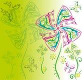 Fondo floral con las mariposas Imagenes de archivo