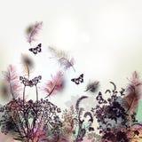 Fondo floral con las plumas y las plantas del vector ilustración del vector
