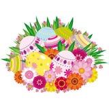 Fondo floral con los huevos de Pascua Imagenes de archivo