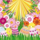 Fondo floral con los huevos de Pascua Fotografía de archivo libre de regalías