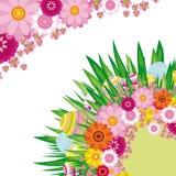 Fondo floral con los huevos de Pascua Imagen de archivo