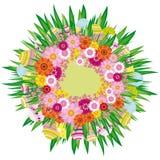 Fondo floral con los huevos de Pascua Foto de archivo libre de regalías