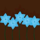 Fondo floral cuadrado Flores azules en marrón Fotos de archivo