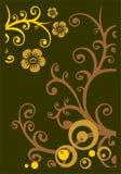 Fondo floral de bronce stock de ilustración