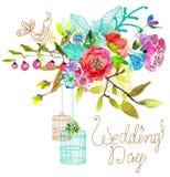 Fondo floral de la acuarela con las jaulas de pájaros para el desig hermoso stock de ilustración