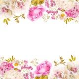 Fondo floral de la boda de la decoración en blanco rosado y oro ilustración del vector