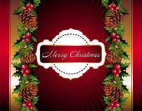 Fondo floral de la Navidad con pinecone Fotografía de archivo