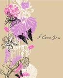 Fondo floral de la tarjeta del día de San Valentín Fotografía de archivo libre de regalías