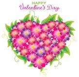 Fondo floral de la tarjeta del día de San Valentín con dimensión de una variable del corazón stock de ilustración