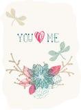 Fondo floral de la tarjeta del día de San Valentín con la libélula stock de ilustración