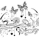 Fondo floral de la tarjeta del día de San Valentín con las mariposas Fotos de archivo