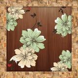 Fondo floral de la vendimia con las flores stock de ilustración