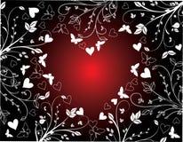 Fondo floral de las tarjetas del día de San Valentín stock de ilustración