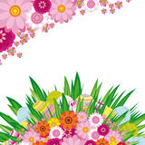Fondo floral de los huevos de Pascua Foto de archivo