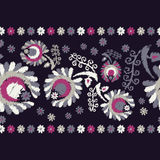 Fondo floral decorativo inconsútil Frontera inconsútil Bordado en tela Adorno retro Fotos de archivo