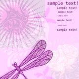 Fondo floral del grunge de la vendimia con la libélula Imágenes de archivo libres de regalías
