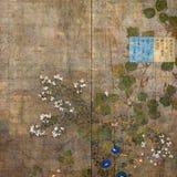 Fondo floral del libro de recuerdos de la vendimia Imagen de archivo