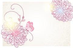 fondo floral del Mano-dibujo con el crisantemo y la mariposa de la flor Tarjeta de felicitación con estilo Fotografía de archivo libre de regalías